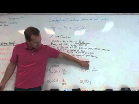 Nate converting fractions, decimals, percents