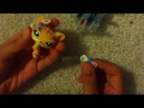 How to make a Bow tie headband for LPS on Rainbow Loom
