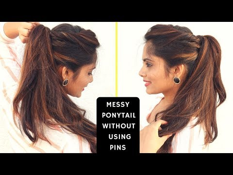 Messy High Ponytail Without Using Bobby Pins | Komal's Hairstyle
