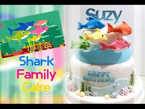 ::sugarcraft::shark family cake핑크퐁 상어가족 케이크만들기