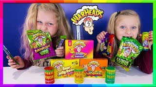 Extreme Sour Candy Callenge Toxic Waste vs Warhead Challenge Smoothie   Hannah and Jessica