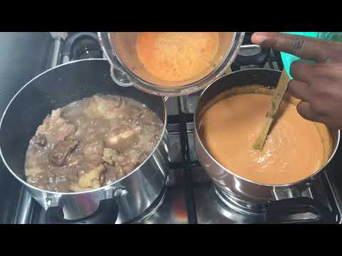 how to makeghana groundnut/peanutbutter soup with rice balls