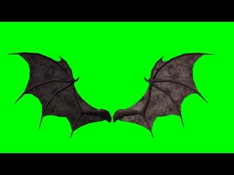 demon wings in motion - green screen animation - back view
