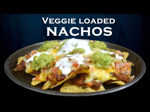 Veggie Loaded Nachos | Cheesy nachos | Refried beans from scratch | Simply Yummylicious