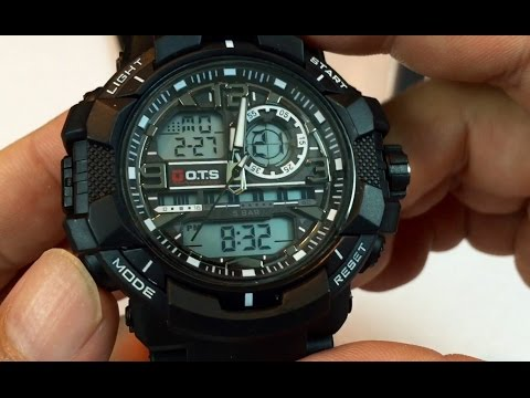 PALADA T8073G Dual Time Waterproof Sports Analog-Digital Black Watch w LED light review - giveaway