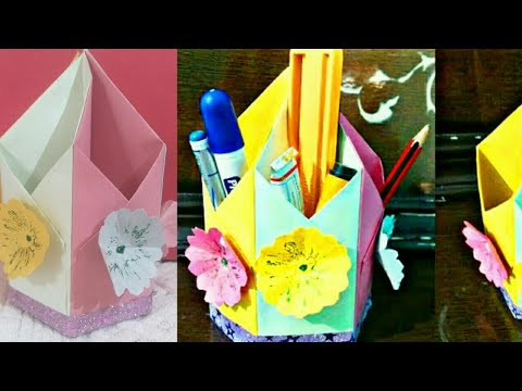 Paper Pen holder- crafts for kids| how to make paper pencil holder in hindi - cool and creative #128