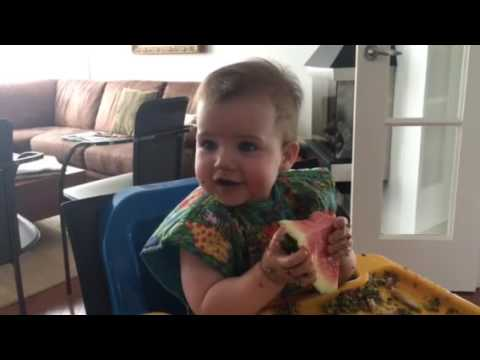 9 month old and watermelon