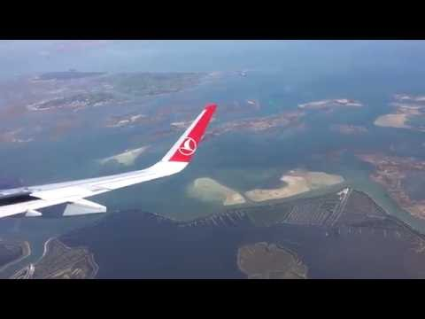 Turkish Airlines landing at Venice -Marco Polo International Airport