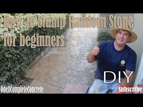 How to Stamp Random Stone Concrete Patio Pattern! DIY