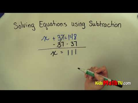 Solving Pre-Algebra Equations with Subtraction, 5th, 6th, 7th grades