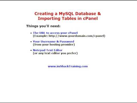cPanel Create MySQL Database and Import Tables