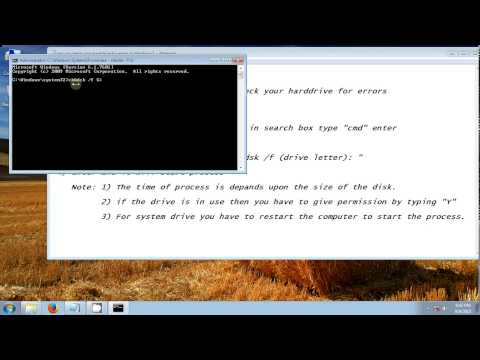 how to check your harddrive for errors by cmd in windows 7