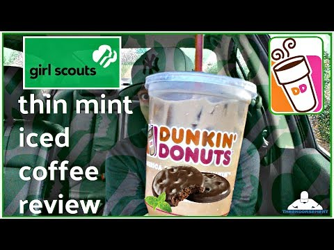 DUNKIN' DONUTS® THIN MINT® ICED COFFEE REVIEW! | GIRL SCOUT COOKIE FLAVORS
