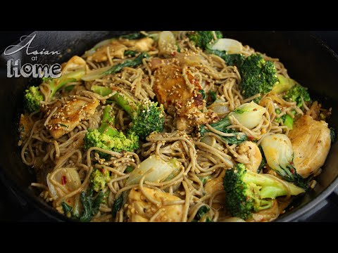 Soba and Chicken with Creamy Spicy Sesame Dressing