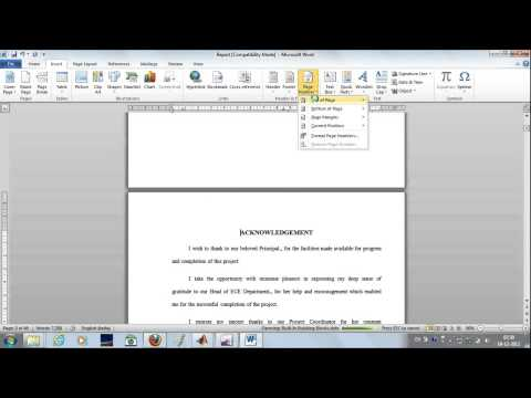 How to insert page number in MS word- Tamil