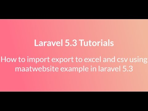 Laravel 5 import export to excel and csv using maatwebsite example