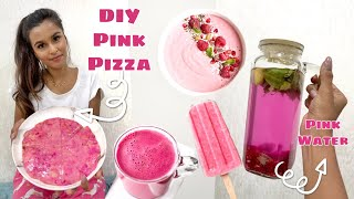I Only Ate PINK Food For 24 Hours / DIY Pink Pizza, Pink Water, Pink Tea, Pink Nachos & More