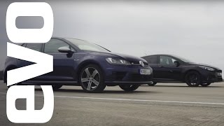 Ford Focus RS vs Volkswagen Golf R - which is fastest? | evo DRAG BATTLE