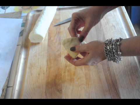 Preparing sfogliatelle pastry to make Lobster Tails