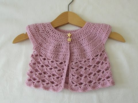 How to crochet an EASY lace baby cardigan / sweater