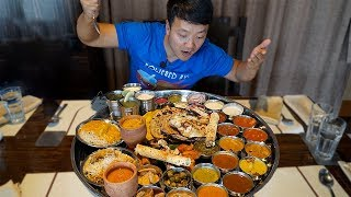 MASSIVE Plate of INDIAN FOOD (Thali) Over 30 ITEMS!!!