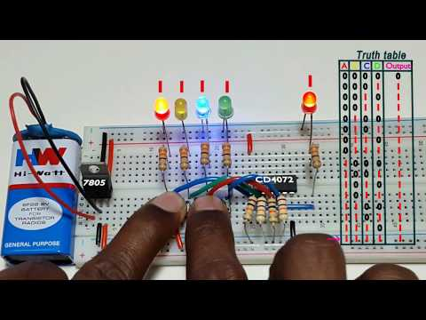 How to work 4 input OR logic gate , using CD4072 ic, in Tamil & English,தமிழ் எலெக்ட்ரானிக்ஸ்