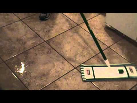 Cleaning tile floor and seal grout lines