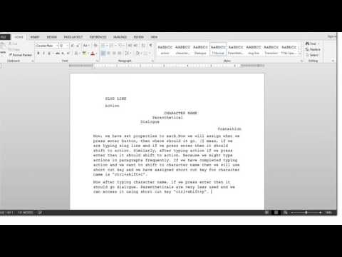How to create a screenwriting template in ms word 2013