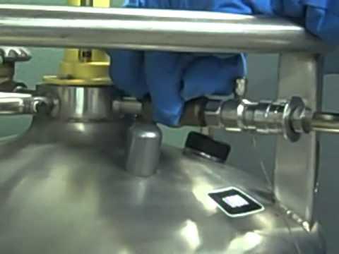 Filling a hand dewar with liquid nitrogen at the ALS