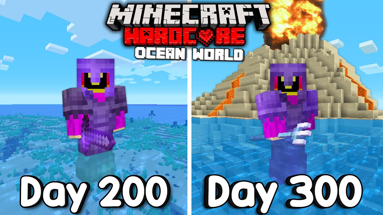 I Survived 300 Days Of Hardcore Minecraft, In an Ocean Only World.
