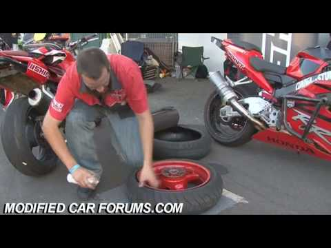 Putting a tyre back on a rim with Brake Cleaner