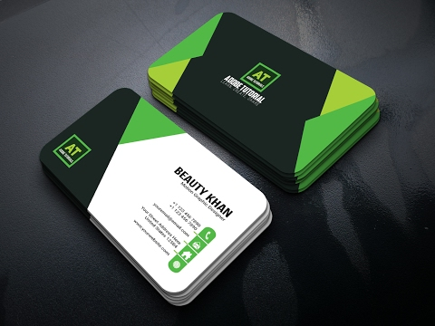 Adobe Illustrator Tutorial :  Latest Style Business Card  | Green Theme