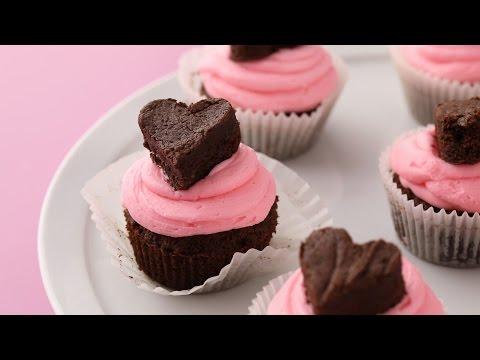 Chocolate Brownie Heart Cupcakes- Martha Stewart
