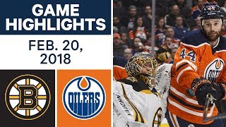 NHL Game Highlights | Bruins vs. Oilers - Feb. 20, 2018