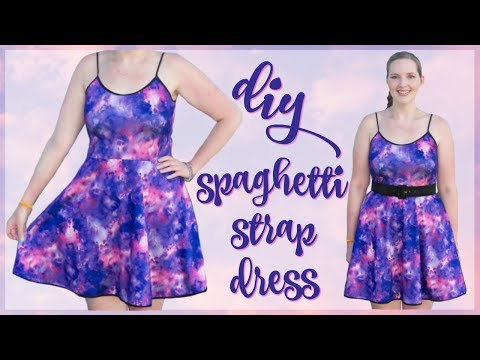DIY Spaghetti Strap Dress Sewing Tutorial | How to Sew a Skater Dress Easy