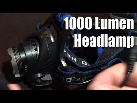 Ultra-bright, 1000 Lumens, 3 Mode, zoomable, LED Headlamp with Rechargeable Batteries by Futtop