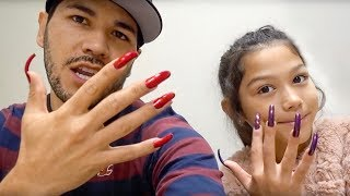 Wearing Super Long acrylic Nails For A Day **DAD vs. DAUGHTER**   Familia Diamond