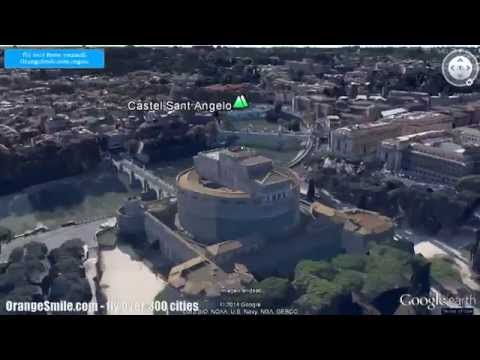 Flying over Rome sightseeings on Google Earth