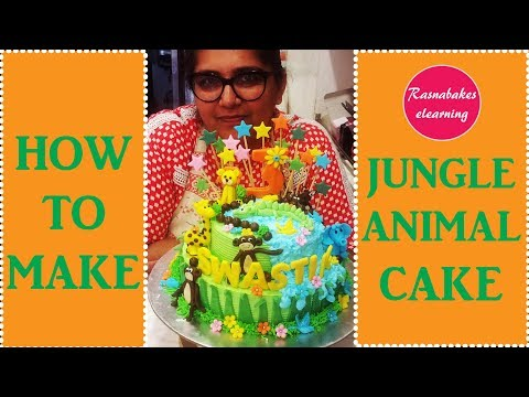 How To Make Jungle Animal Cake: Cake decorating tutorial