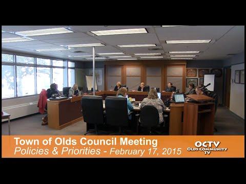 Town of Olds Policies & Priorities Meeting Feb. 17, 2015 (Full Version)