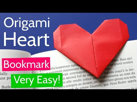 Very Easy Origami Heart Bookmark Tutorial ❤ DIY Paper Heart for Valentine's Day