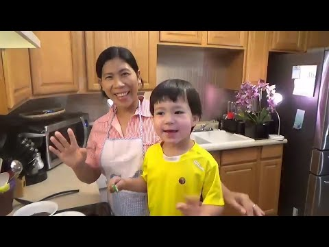 Champorado chocolate rice | John helps mommy cook Filipino food and helps to taste test it, too.