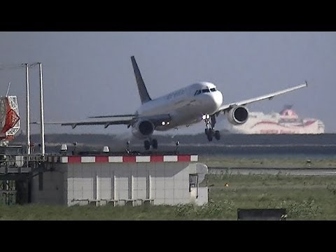 Airbus A320 Air One very bad landing at Genova(LIMJ)