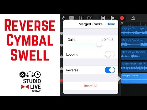 How to create a reverse cymbal swell in GarageBand iOS