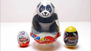 Panda Surprise Egg With Pokemon Egg And Kinder Surprise Egg