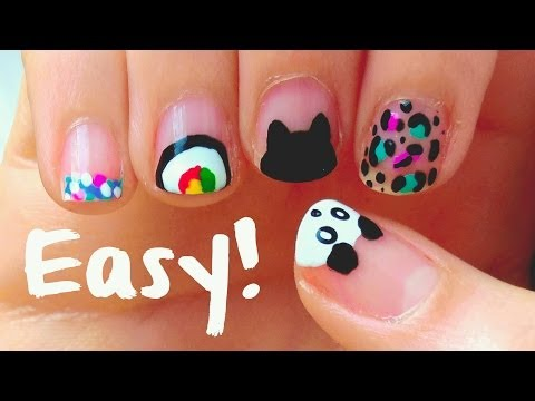 Easy nail art designs for short nails!! For beginners & DIY tools!