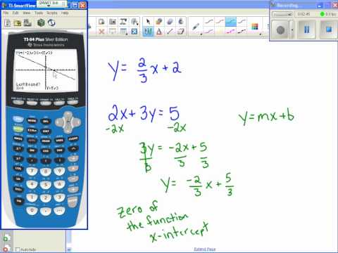 Finding x & y intercepts with calculator