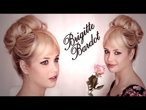 Brigitte Bardot hair and makeup tutorial. Updo hairstyle for wedding/prom/graduation