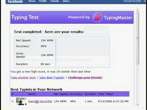 Typing Test--134 WPM, 98% Accuracy (personal record)