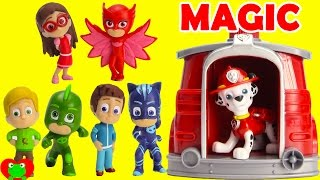 PJ Masks Save the Day With Paw Patrol Marshall Magical Pup House
